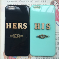 his & hers, couple protective case for iPhone 6 iPhone 6 plus iPhone5/s, summer gift hard case,best friends gift,love gift, a pair of cases