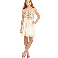 GB Strapless Sequin Top Dress - Champagne