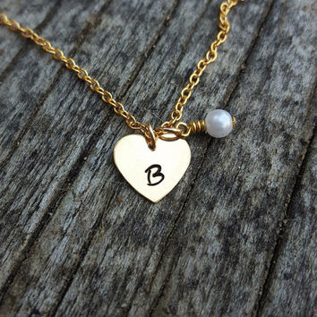 Gold Heart Initial Necklace, Gift For Girlfriend, Personalized Necklace, Letter Necklace, Hand Stamped, Fall Necklace, Bridesmaid Gift