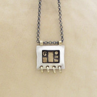 Silver and Gold Pendant -  Rectangle 14k Gold & Silver Necklace - Geometric Pendant