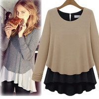 Chiffon Patchwork Round Neck Shirt