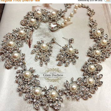 Wedding jewelry, bridal jewelry set, Bridal necklace earrings, bridal backdrop necklace , pearl jewelry set , ballroom crystal jewelry set