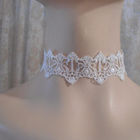 White Lace Adjustable Necklace Lolita Necklace Goth Necklace Steampunk Necklace Victorian Necklace Romantic Necklace Collar Necklace Wedding