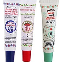 Rosebud Perfume Co. Tube 3 Pack: Smith's Rosebud Salve + Smith's Strawberry Lip Balm + Smith's Minted Rose Lip Balm