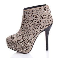Beige Stiletto Heel Boots with Diamanted Upper and Concealed Flatform Sole