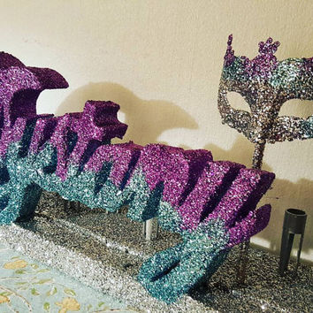Mardi gras Sweet 16 candelabra- Masquerade party candelabra- sweet 16- candlelighting ceremony- glitter candles- free standing name- ombre