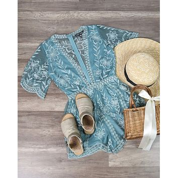 Honey Punch - As You Wish Contrasting Embroidered Lace Romper in Dusty Teal