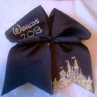 Cheerleading Worlds 2013 Cheer Bow on 3'' Black by BritishBowtique
