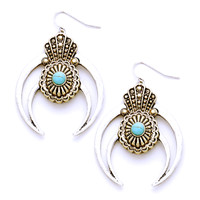 Turquoise Tribal Double Horn Cut Out Earrings