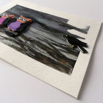 Happy Halloween Hand Painted Greeting Card
