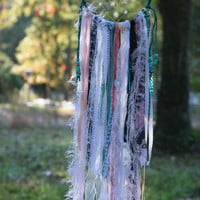 Bohemian Dream Catcher Teal Blue Pink And White One of a kind boho dream catcher