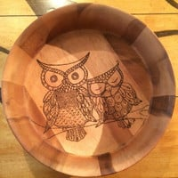 Large wooden bowl wood burned with 2 owls.