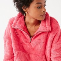 UO Judy Fuzzy Half-Zip Jacket | Urban Outfitters