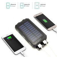Solar USB Power Bank Charging Water Proof IP68 Armour LED Light Compass Field Camping Equipment 8000 mAh 2 USB Output 5V 2A Hot