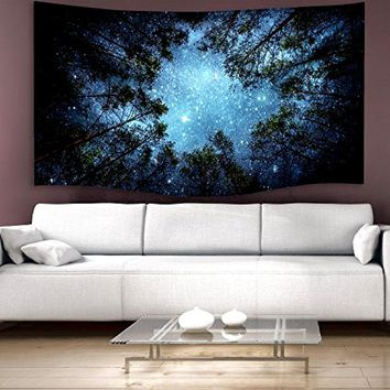 Night Sky Star Forest Hanging Tapestry Nature Tree Galaxy Wall Art Decor Vintage