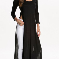 Long Sleeve Long Top with Slit