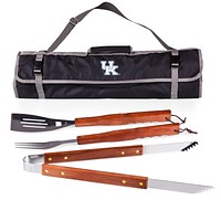 Kentucky Wildcats 3-Pc BBQ Tote & Tools Set-Black Digital Print