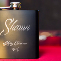Personalized Black Flask - Perfect Gift Set - Engraved 6oz Stainless Steel Flask