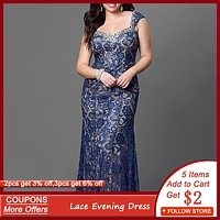 Blue Lace Floral Patchwork Evening Dress Sexy Sleeveless Mermaid Long Robe Femme Elegant Wedding Formal Gown Plus Size Vestidos