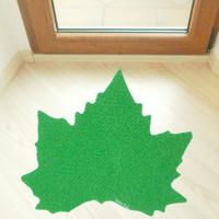 Maple leaf silhouette floor mat. Personalized rug.