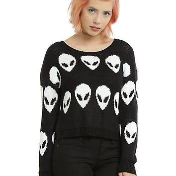 Black & White Alien Knit Girls Cropped Sweater