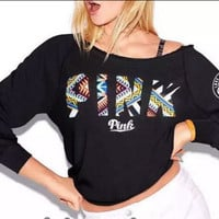 Victoria's Secret LOVE PINK Women's Fashion Letter Print Strapless Long-sleeves Pullover Tops T-shirt