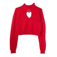 Heart It Cropped Sweater in Red
