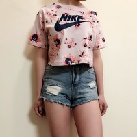Nike Floral Print Cropped Top Tee T Shirt1