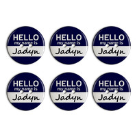 Jadyn Hello My Name Is Plastic Resin Button Set of 6