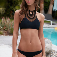 LA Hearts Webbed Halter Cropped Bikini Top at PacSun.com