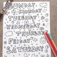 week days kids coloring page letters home teaching learn kawaii nice cute school instant download colouring printable print lasoffittadiste