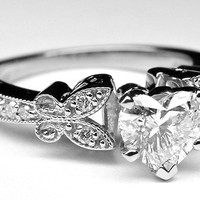 Engagement Ring - Heart Shape Diamond Butterfly Vintage Engagement Ring 0.16 tcw. In 14K White Gold - ES334HSWG