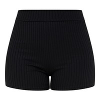 Janice Black Ribbed Shorts