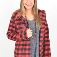 Red and Black Buffalo Plaid Jacket with Toggle Closures and Hood