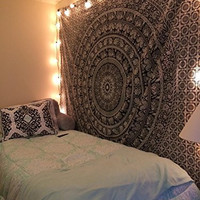 Popular Handicrafts Large Black & White Tapestries Hippie Mandala Intricate Floral Design Indian Bedspread Tapestry 84x90 Inches,(215cmsx230cms)
