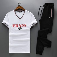 PRADA Popular Women Men Casual Pullover Top Pants Trousers Set Two-Piece Sportswear White I-BJQSFS