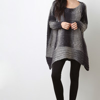 Ombre Stripes Mixed Knit High-Low Sweater