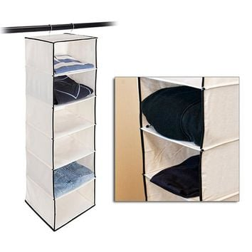 Stylishly Stored Six-Shelf Hanging Canvas Organizer