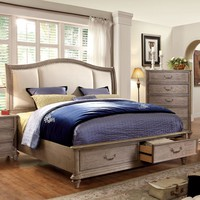 Northrup Transitional Fabric Cal-King Bed in Rustic Grey