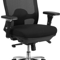 HERCULES Series 24/7 Intensive Use, Multi-Shift, Big & Tall 350 lb. Capacity Black Mesh Multi-Functional Swivel Chair with Synchro-Tilt