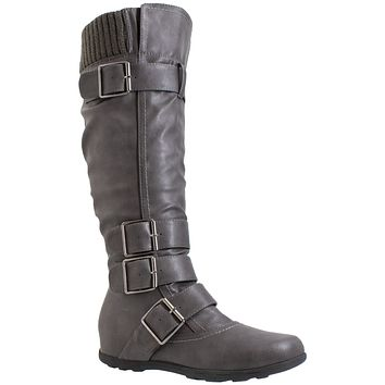 Generation Y Women's Knee High Boots Strappy Adjustable Buckle Combat Gray Faux Leather