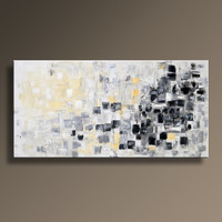 """48"""" Large Original ABSTRACT Painting on Canvas Contemporary  Modern Art  WHITE and GRAY Black Yellow wall decor - Unstretched"""