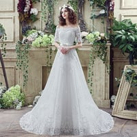 Off Shoulder Short Sleeve Lace wedding dress vestido de noiva Boat Neck cheap Wedding Gowns Lace Up boho wedding dresses