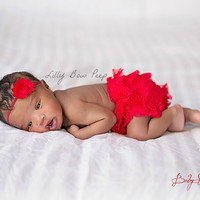 Baby Girl Clothes-Red Diaper Cover & Matching Flower Headband SET-Bloomers-Preemie-Newborn Girl Clothes-Infant-Toddler-Baptism-Wedding-Lace