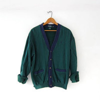 vintage cardigan sweatshirt. green + blue preppy button down sweatshirt. pocket sweater.