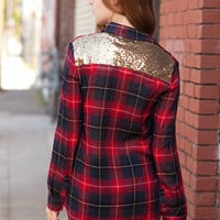 Follow Me Home Red Flannel Sequin Top