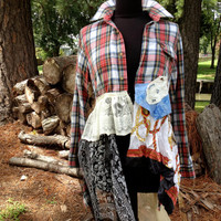 Shabby flannel upcycled plaid lace OOAK boho dress duster lagenlook reconstructed top, M