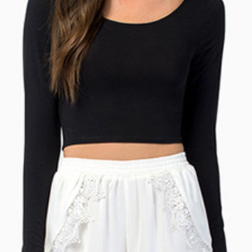 Black Round Neckline Long Sleeve Backless Crop Top