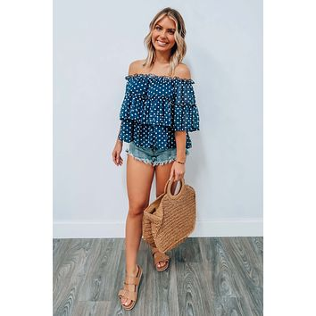 Garden Bliss Cropped Top: Blue/White