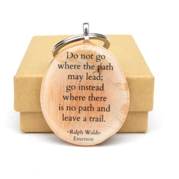 Personalized Graduation keychain graduation gift going away gift wood keychains Emerson quote graduation favors class of 2016 eco friendly